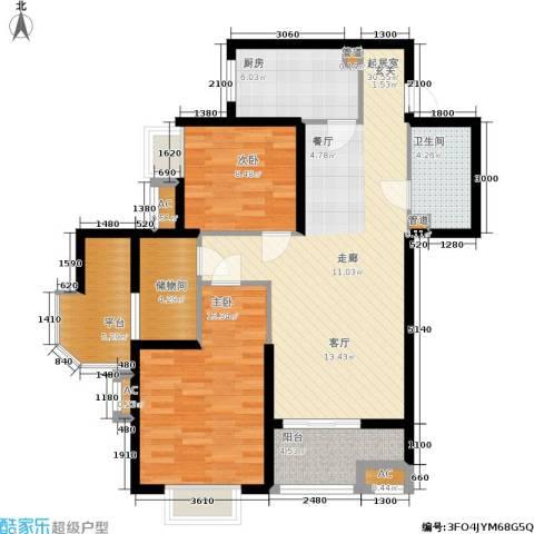 华城泊郡二期2室0厅1卫1厨100.00㎡户型图