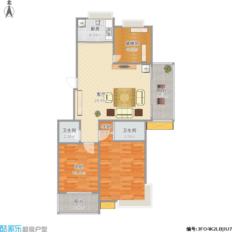 瓯越名庭100方A1户型三室两厅