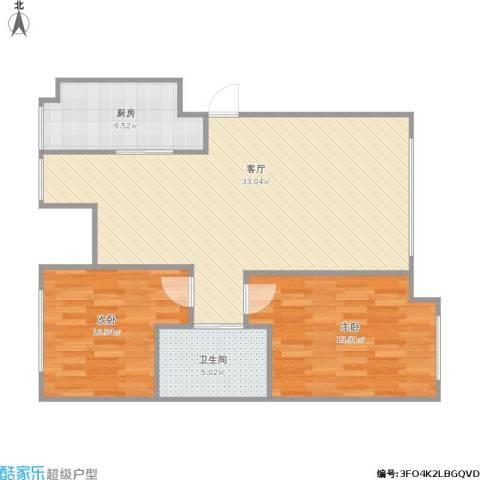 万科上东区2室1厅1卫1厨93.00㎡户型图