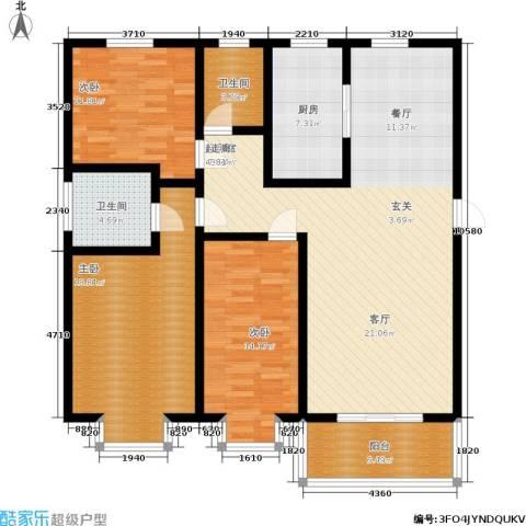 美美佳园3室0厅2卫1厨128.00㎡户型图