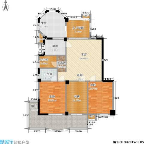 左海帝景3室1厅2卫1厨166.00㎡户型图