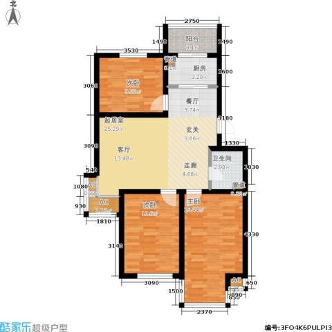 山水龙城3室0厅1卫1厨92.00㎡户型图