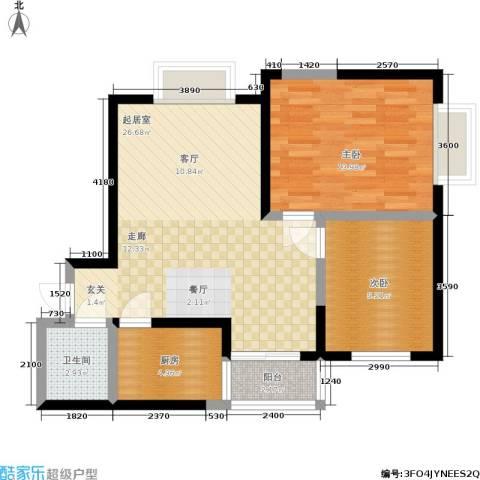 锦里2室0厅1卫1厨82.00㎡户型图