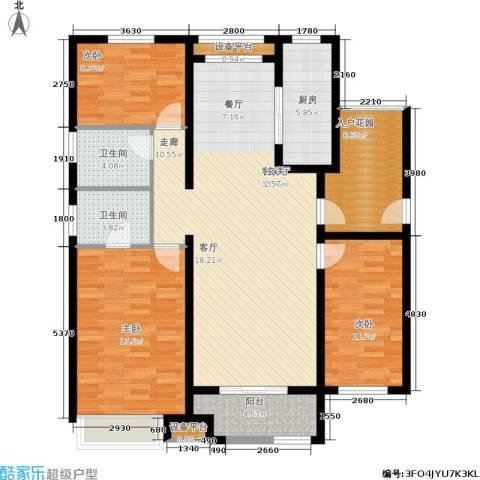 首创悦府3室1厅2卫1厨123.00㎡户型图