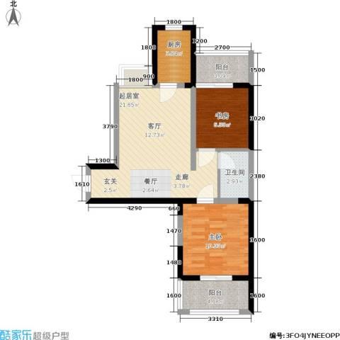 锦里2室0厅1卫1厨73.00㎡户型图