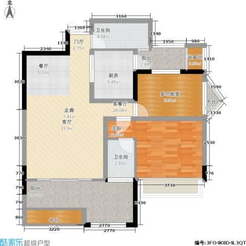 圣苑塞纳阳光曦岸1室1厅2卫1厨90.28㎡户型图