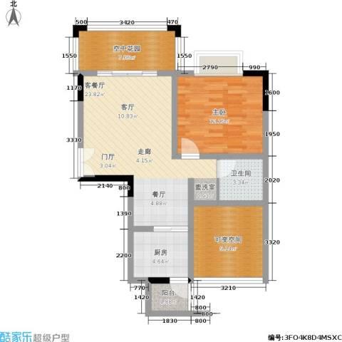圣苑塞纳阳光曦岸1室1厅1卫1厨72.45㎡户型图