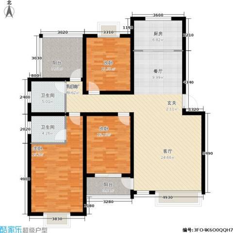 万达高尔夫花园3室1厅2卫1厨165.00㎡户型图