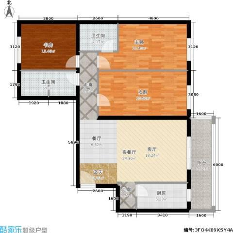 上东三角洲3室1厅2卫1厨134.00㎡户型图