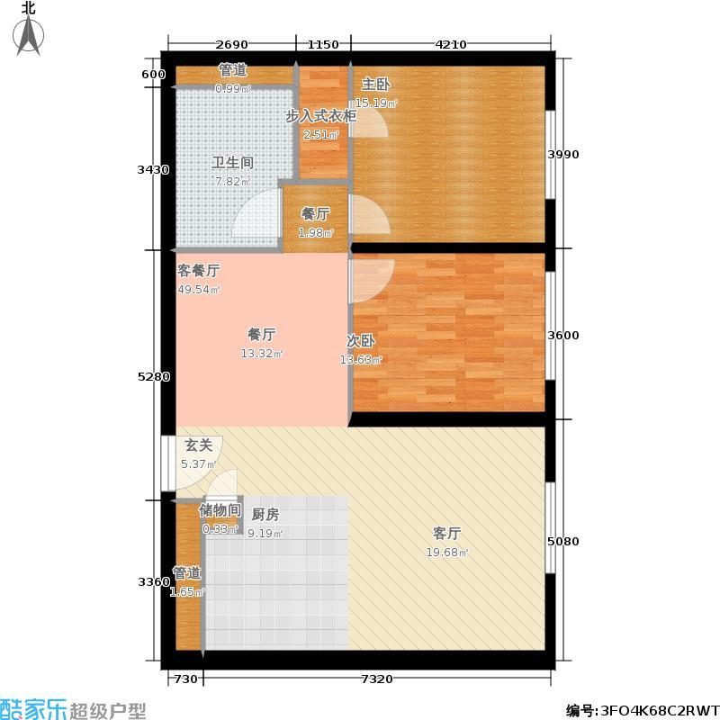 新地国际公寓102.00㎡M户型2室2厅1卫