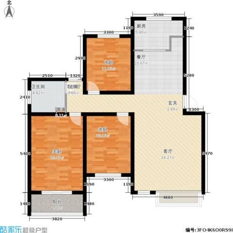 万达高尔夫花园3室1厅1卫1厨147.00㎡户型图