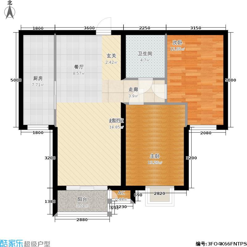 青年城两室两厅一卫一厨 102平米户型