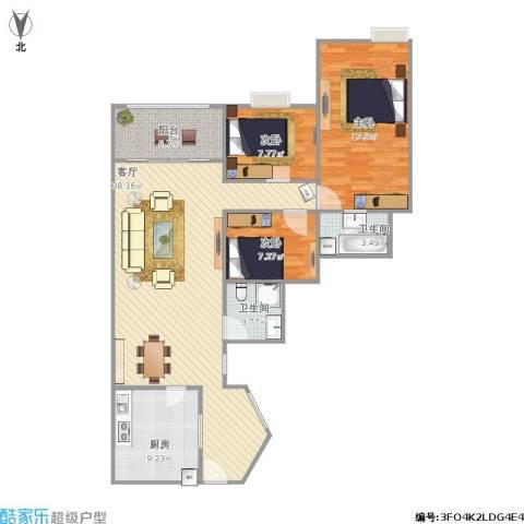 今日丽舍3室1厅2卫1厨101.40㎡户型图
