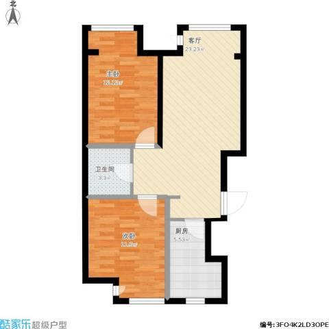 孔雀海2室1厅1卫1厨80.00㎡户型图
