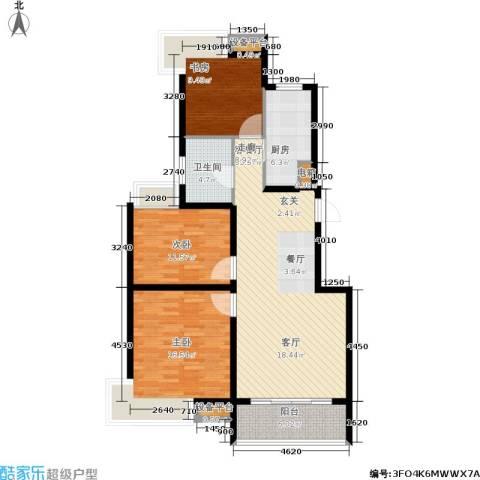 蓝天小区3室1厅1卫1厨102.00㎡户型图
