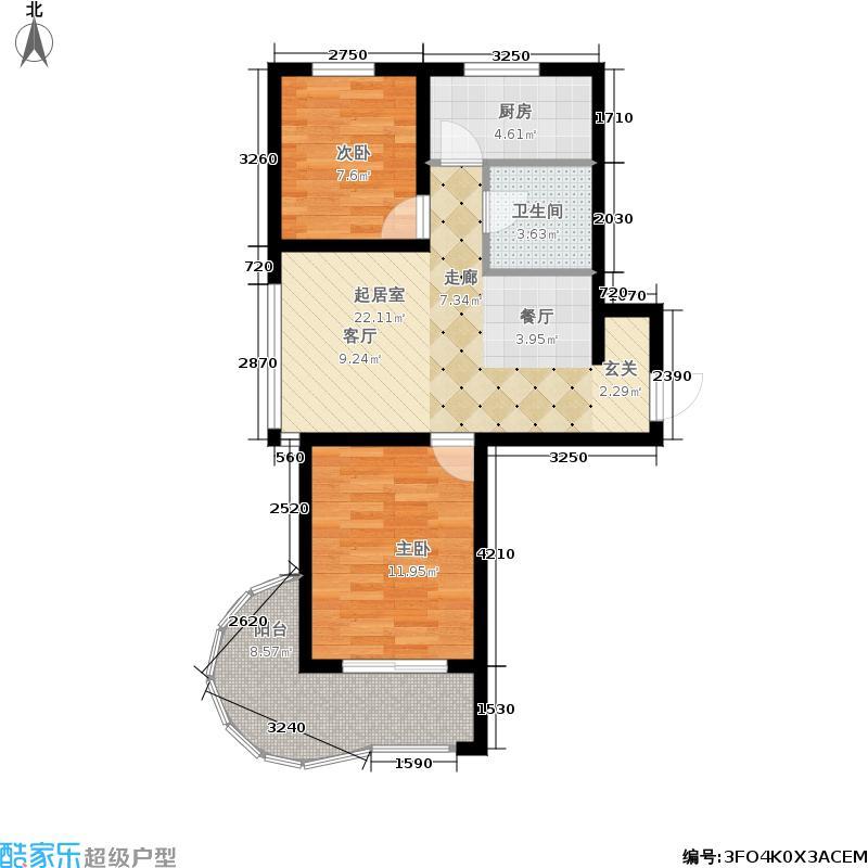 公园里74.00㎡2-5号楼奇数层E户型2室2厅