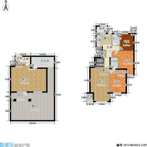 涧桥山3室1厅3卫1厨207.51㎡户型图