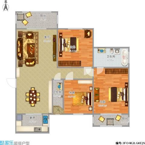 太钢118小区3室1厅2卫1厨129.79㎡户型图