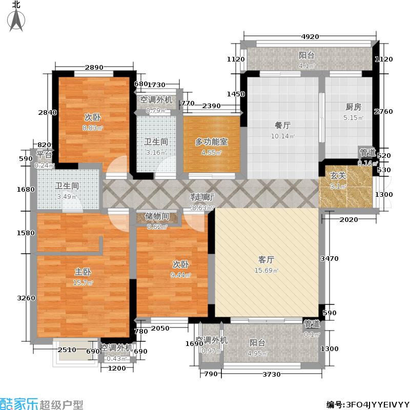 中海凤凰熙岸118.18㎡三期25号楼标准层I户型