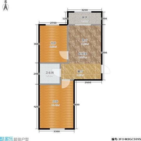 新地山湾2室0厅1卫1厨58.00㎡户型图