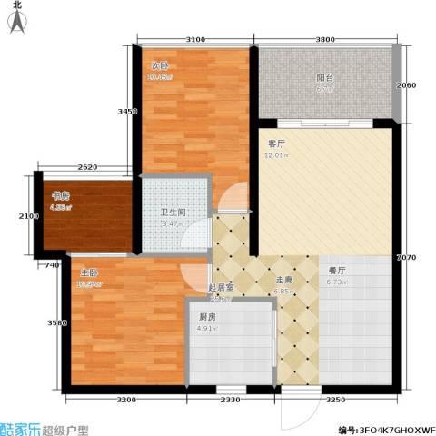 海韵・陵河假日3室0厅1卫1厨81.00㎡户型图