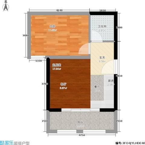 东方罗马花园1室0厅1卫0厨45.00㎡户型图