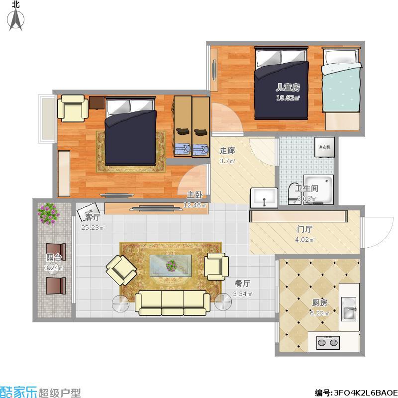 83平A1户型两室两厅2