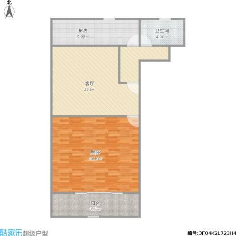 真光十街坊1室2厅1卫1厨88.15㎡户型图
