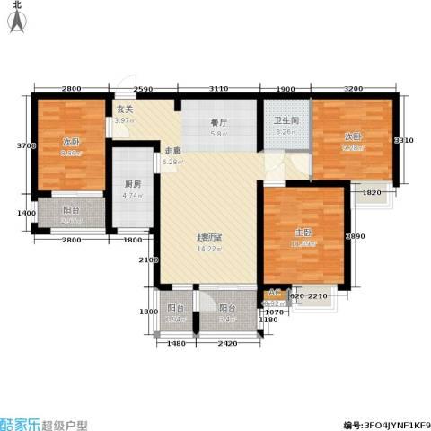 阳光新地3室0厅1卫1厨111.00㎡户型图