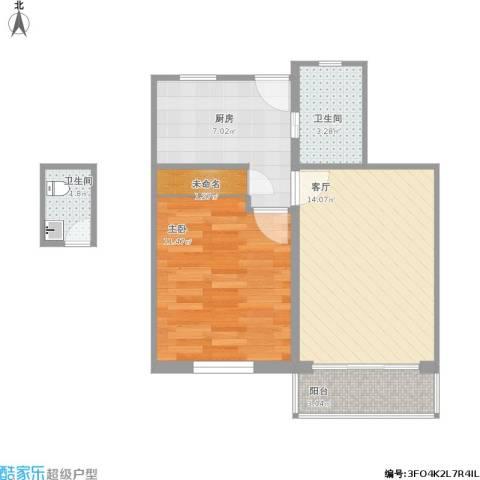 上钢七村1室1厅2卫1厨59.00㎡户型图