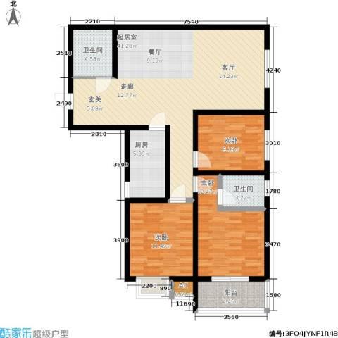 阳光新地3室0厅2卫1厨122.00㎡户型图