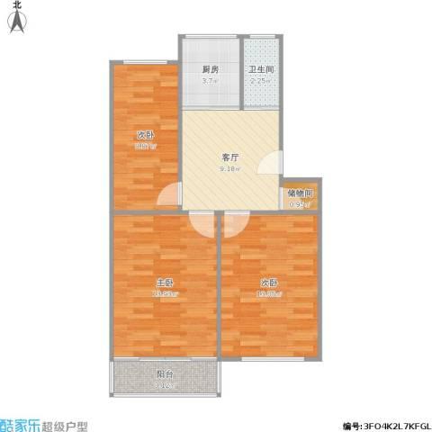 峨嵋岭19号3室1厅1卫1厨75.00㎡户型图