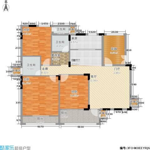 熙庭原著3室1厅3卫1厨133.91㎡户型图