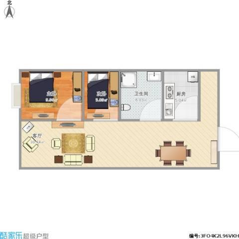 国盛・龙腾丰文2室1厅1卫1厨75.00㎡户型图