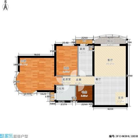 珠江绿洲3室0厅1卫1厨108.00㎡户型图