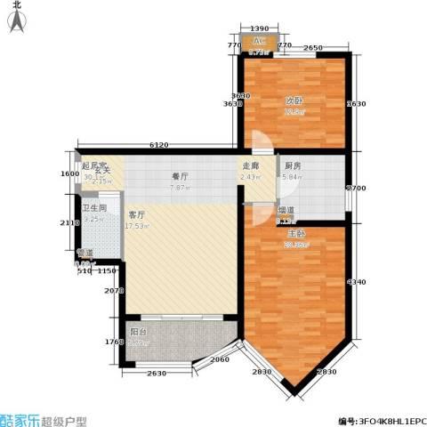 珠江绿洲2室0厅1卫1厨100.00㎡户型图