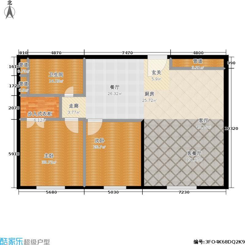 新地国际公寓203.00㎡N06P户型2室2厅1卫