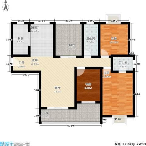 曲江・国风世家3室1厅2卫1厨141.00㎡户型图