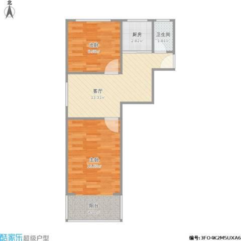 梅苑小区2室1厅1卫1厨59.00㎡户型图