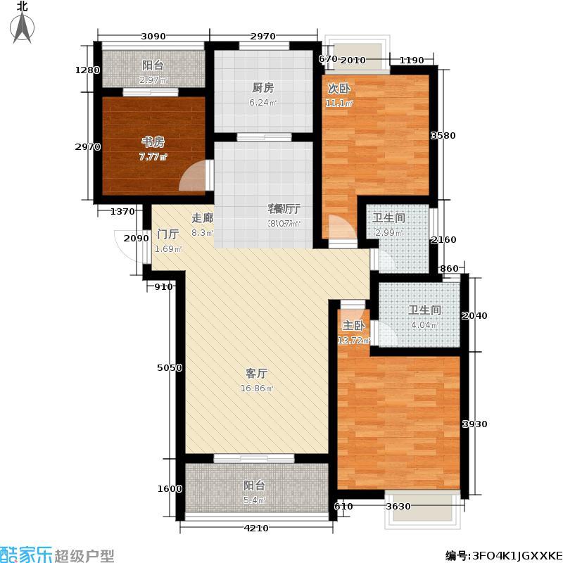 曲江国风世家128.40㎡E户型3室2厅