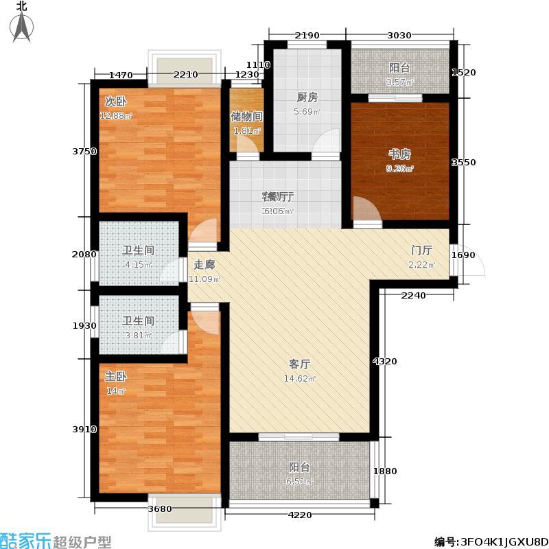 曲江国风世家132.29㎡E2户型3室2厅