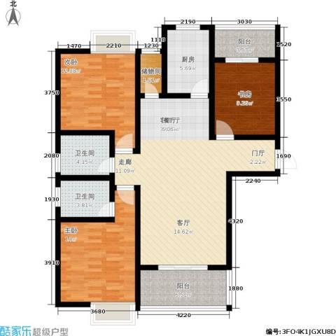 曲江・国风世家3室1厅2卫1厨132.00㎡户型图
