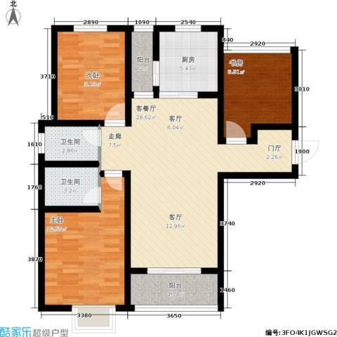 曲江・国风世家3室1厅2卫1厨116.00㎡户型图