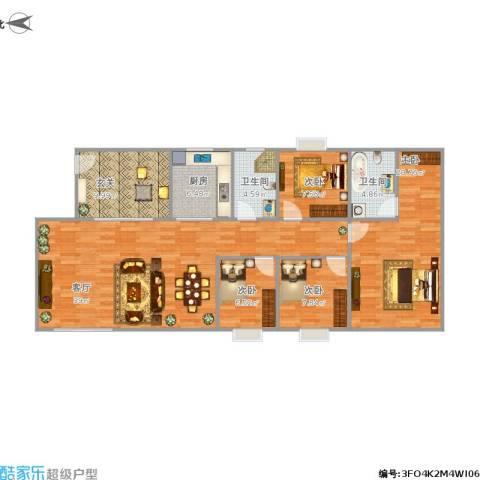 新世纪花园4室1厅2卫1厨144.00㎡户型图