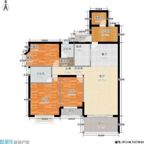 金河铭庄3室0厅2卫1厨136.00㎡户型图