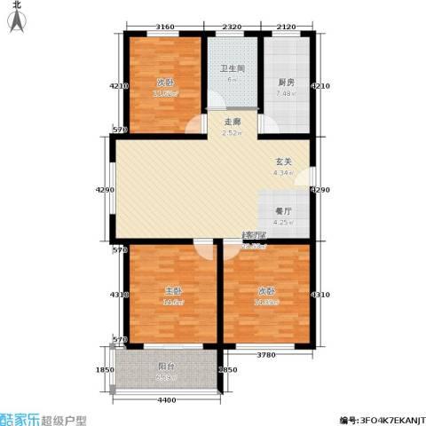 龙凤花园3室0厅1卫1厨108.00㎡户型图