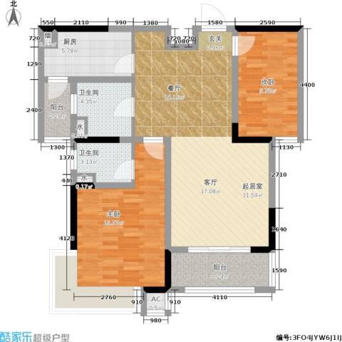 巴黎春天2室0厅2卫1厨92.00㎡户型图