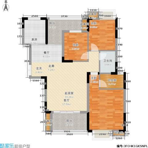 长城世家3室0厅2卫1厨121.00㎡户型图