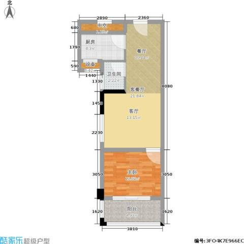水木年华1室1厅1卫1厨54.00㎡户型图