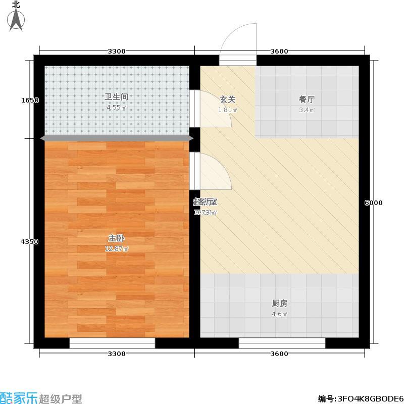 博达英郡M1户型一室两厅一卫49.67-56.2平户型